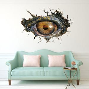 Creative Home Decoration 3D Lifelike Dinosaur Eyes Wall Art Sticker - BLACK GREY