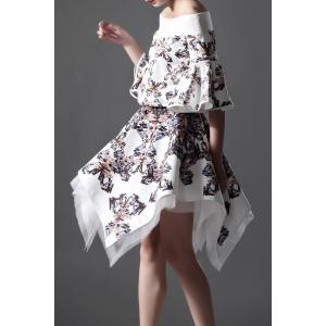 Butterfly Print Irregular Hem Skirt -