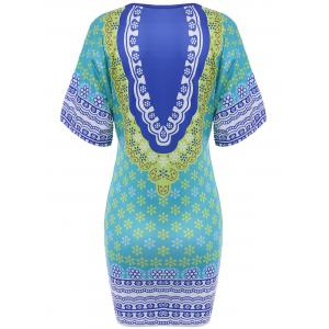 Chic Plunging Neck 3/4 Sleeve Floral Print Women's Dress -