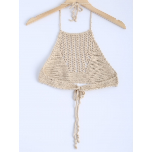 Stylish Lace Up Crochet Knitting Crop Top For Women -