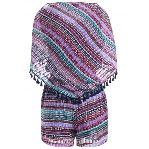 Stylish Print Fringe Shawl Scoop Neck Sleeveless Top and Tie Print Shorts Set For Women -