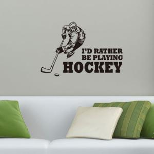 Creative Hockey Competition Sportsman Sports Wall Decals For Bedrooms - BLACK