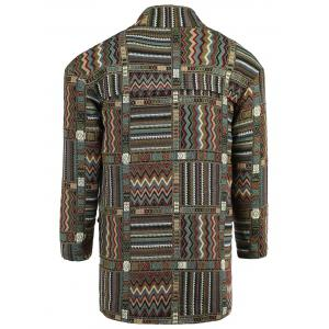 Ethnic Style Lapel Geometric Print Long Sleeve Coat For Men - COLORMIX XL