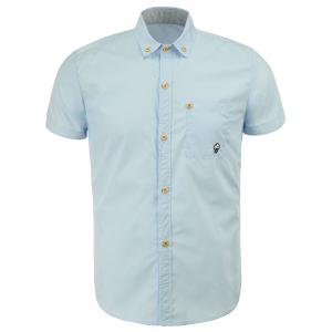 Casual Turn Down Collar Solid Color Button Design Shirts For Men