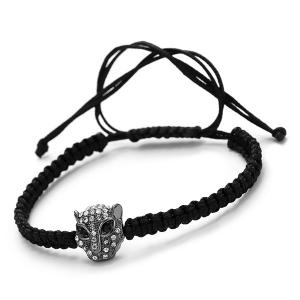 Vintage Rhinestone Woven Rope Leopard Head Bracelet For Men - GUN METAL