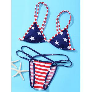 Fashionable American Flag Printing Spaghetti Strap Bikini Suit For Women - Red And White And Blue - L