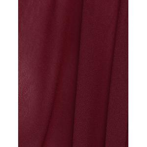 Batwing Sleeves Laciness See-Through Chiffon Blouse - WINE RED 2XL