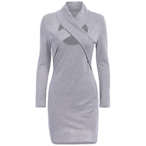 Stand-Up Collar Long Sleeve Bodycon Cut Out Plain Dress