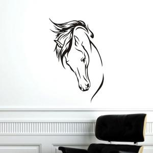 Personality Home Decoration Horse Head Design Wall Art Sticker - BLACK