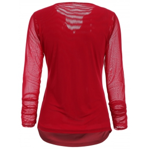 Stylish V-Neck Long Sleeve Embroidered Voile Spliced Women's Blouse - RED S