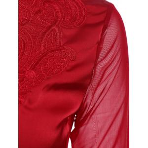 Stylish V-Neck Long Sleeve Embroidered Voile Spliced Women's Blouse -