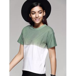 Fashion Ombre Color Block Loose T Shirt -