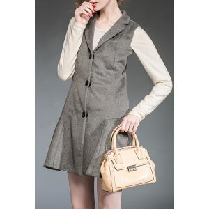 Lapel Gray Single Breasted Winter Dress -