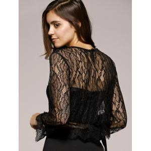 Bell Sleeves Lace Openwork Blouse -