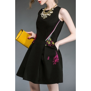 Floral Embroidered Flared Dress -