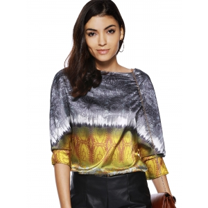 Retro Style Women's Boat Neck 3/4 Sleeve Printed Blouse -