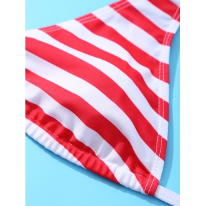 Halter Two Tone American Flag Patriotic Swimwear -