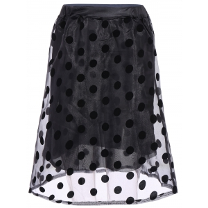 Polka Dot Organza Overlay Midi Skirt - Black - One Size(fit Size Xs To M)