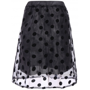 Polka Dot Organza Overlay Midi Skirt - BLACK ONE SIZE(FIT SIZE XS TO M)