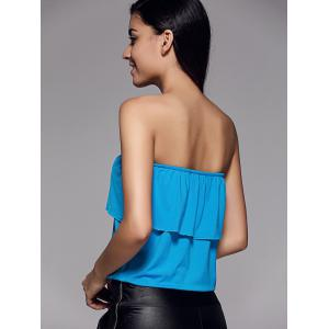 Stylish Strapless Overlay Solid Color Top For Women -