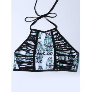 Print Strappy High Neck Halter Bikini Bathing Suit - COLORMIX M