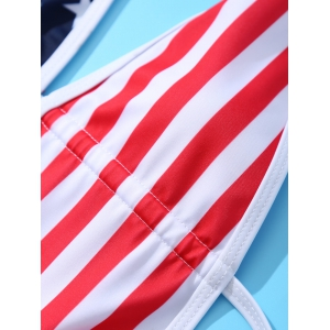Women's Stylish Backless Hit Color Plunging Neck Flag Star One Piece Swimwear - COLORMIX L