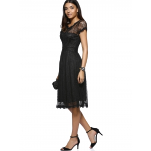 Elegant Button Front Scalloped Layered Women's Lace Dress -
