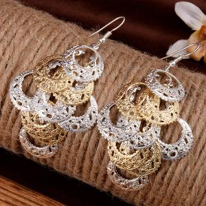Pair of Stylish Layered Circle Earrings For Women -