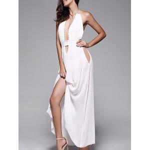 Plunge Halter Long Backless Swing Prom Dress - White - M
