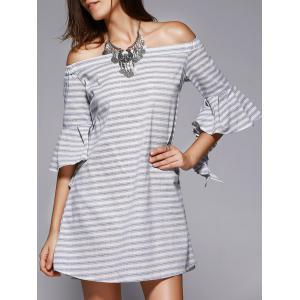 Chic Off-The-Shoulder Cut Out Striped Dress For Women - Stripe - S