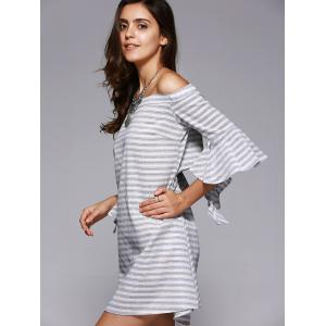 Chic Off-The-Shoulder Cut Out Striped Dress For Women -