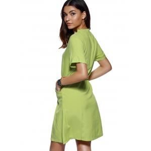 Stylish Women's Ruffled Collar Solid Color Linen Dress -