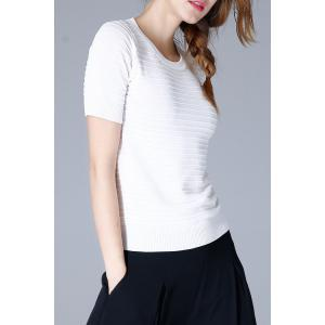 Round Neck Slim Knit Tee -