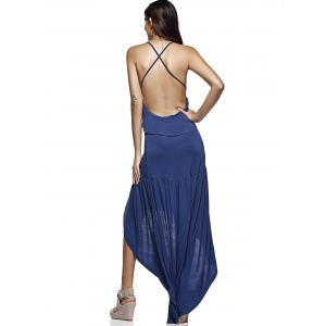 Single-Breasted Backless Cross High-Low Ruffled Dress - DEEP BLUE 2XL