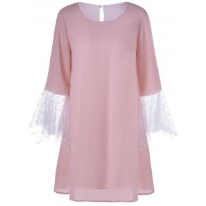 Simple Style Women's Jewel Neck Laced Pink Dress - PINK L