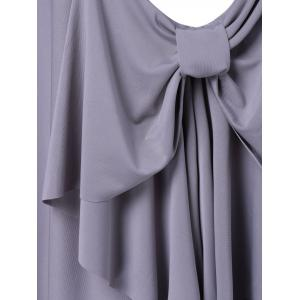 Fashionable Pure Color Bowknot Dress For Women - GRAY L