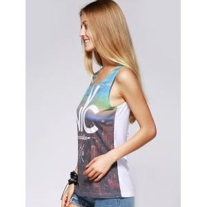 Fashionable Scoop Neck Print Cut Out Tank Top For Women -