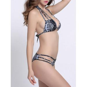 String Cutout Animal Print Halter Bikini - COLORMIX L
