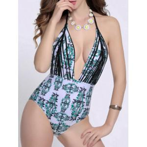 Halter Leaf Print Low Cut One Piece Swimsuit - COLORMIX XL