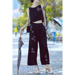 Sequin Tank Top and Wide Leg Pants Suits -