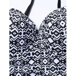 Geometric Print Plus Size Underwire One Piece Swimsuit - WHITE AND BLACK 9XL