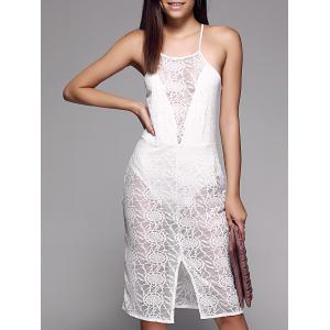 See-Through Slit Front Sleeveless Lace Cami Dress