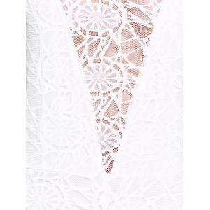 See-Through Slit Front Sleeveless Lace Cami Dress - WHITE XL