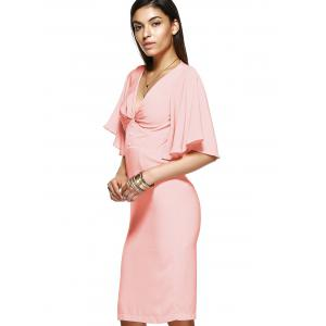 Elegant Women's Pink Flounced Sleeves Open Back Dress -
