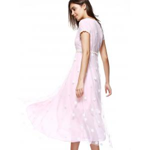 Snowflake Embroidered Chiffon Swing Formal Dress -