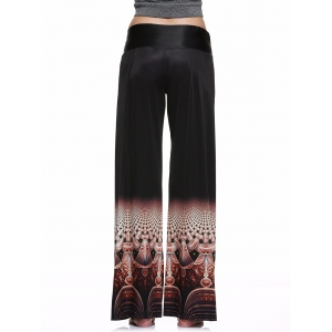 Elastic Waist Colorful Printed Loose-Fitting Palazzo Pants -