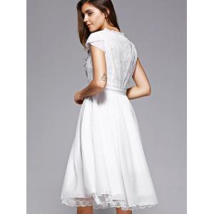 Trendy Lace Spliced V-Neck White Midi Dress For Women -