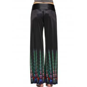 Fashionable High Waist Printed Loose-Fitting Pants For Women - BLACK 2XL