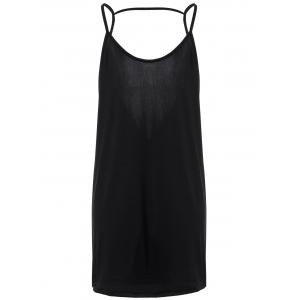 Spaghetti Strap Open Back Casual Summer Dress - Black - S