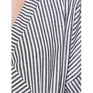 Trendy Striped Color Block Kimono Blouse -